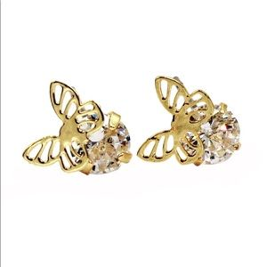 Gold Mini single golden butterfly crystal earrings